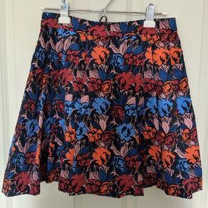 J crew pleated flower pattern skirt